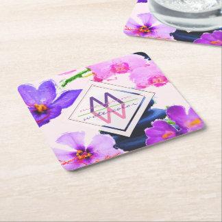 Porta-copo De Papel Quadrado Zen das flores do açafrão e da orquídea do