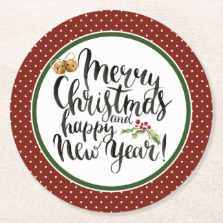 Porta-copo De Papel Redondo Aguarela do Natal | - citações do feliz ano novo