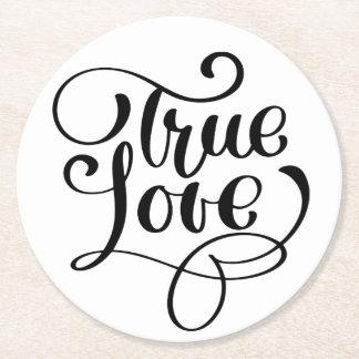Porta-copo De Papel Redondo Amor verdadeiro preto & Wedding branco da