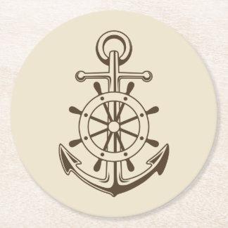 Porta-copo De Papel Redondo Âncora do barco do vintage & roda náuticas Tan do