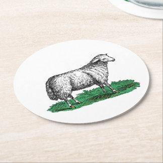 Porta-copo De Papel Redondo Animais de fazenda da ovelha dos carneiros do