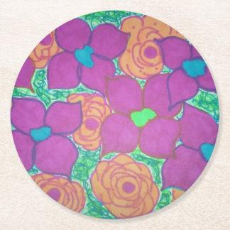Porta-copo De Papel Redondo Arte tropical colorida do teste padrão de flor