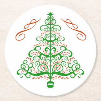 Porta-copo De Papel Redondo Árvore de Natal de Nouveau da arte elegante