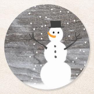 Porta-copo De Papel Redondo Boneco de neve rústico do Natal do conselho da