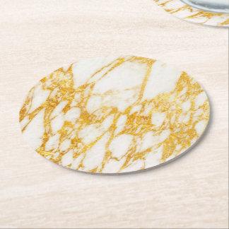 Porta-copo De Papel Redondo branco e pedra de mármore do ouro