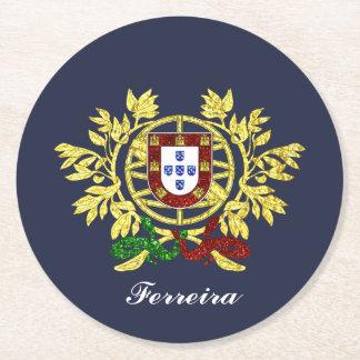 Porta-copo De Papel Redondo Brasão de Portugal sua cor de texto