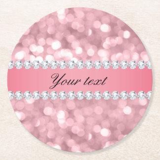Porta-copo De Papel Redondo Brilho cor-de-rosa Bokeh e diamantes