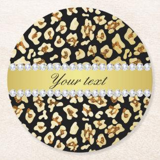 Porta-copo De Papel Redondo Brilho do ouro do falso do leopardo e preto da