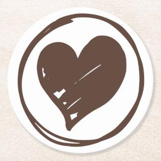Porta-copo De Papel Redondo Brown & coração branco - amor, casamento, chá de