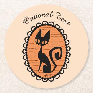 Porta-copo De Papel Redondo Cameo do gato preto do Dia das Bruxas
