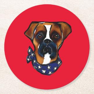 Porta-copo De Papel Redondo Cão do pugilista 4o julho