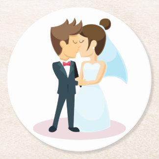 Porta-copo De Papel Redondo Casamento de beijo da noiva & do noivo dos