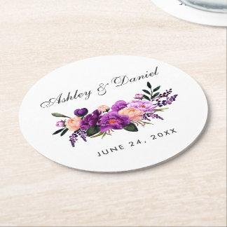 Porta-copo De Papel Redondo Casamento floral roxo ultravioleta da aguarela