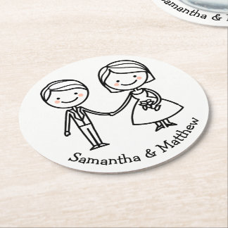 Porta-copo De Papel Redondo Casamento preto e branco da noiva & do noivo dos
