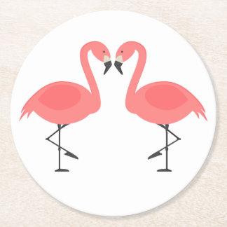Porta-copo De Papel Redondo Casamento tropical dos flamingos cor-de-rosa,