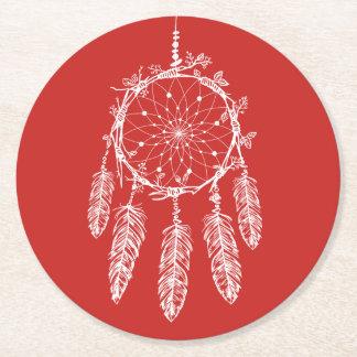 Porta-copo De Papel Redondo Casamento vermelho do coletor do sonho de nativo