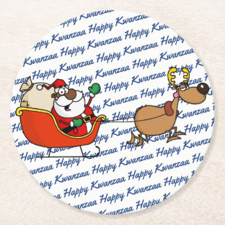 Porta-copo De Papel Redondo Celebração de Papai Noel Kwanzaa do afro-americano