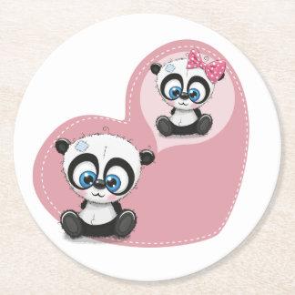 Porta-copo De Papel Redondo Chá de panela Wedding do coração do rosa do urso