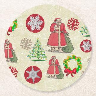 Porta-copo De Papel Redondo Colagem alegre do Natal