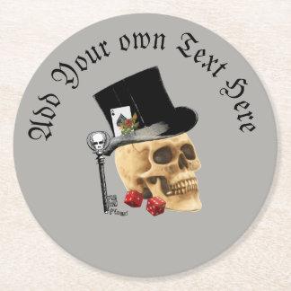Porta-copo De Papel Redondo Crânio de jogo gótico dos noivos