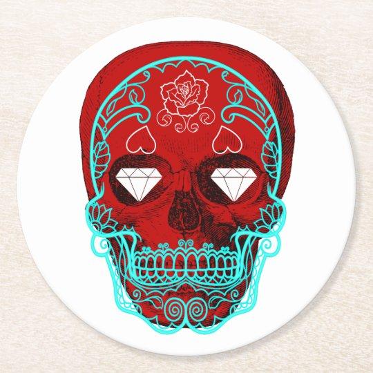 Porta-copo De Papel Redondo Crânio do açúcar