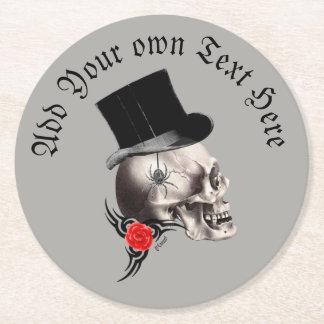 Porta-copo De Papel Redondo Crânio gótico do noivo