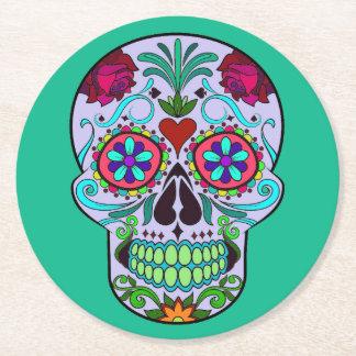 Porta-copo De Papel Redondo Dia do crânio do açúcar da porta copos colorida