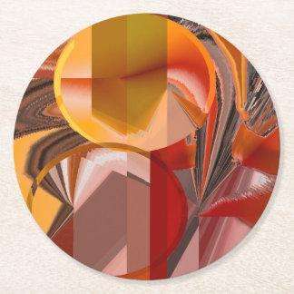 Porta-copo De Papel Redondo Dispositivo vermelho e abstrato da laranja