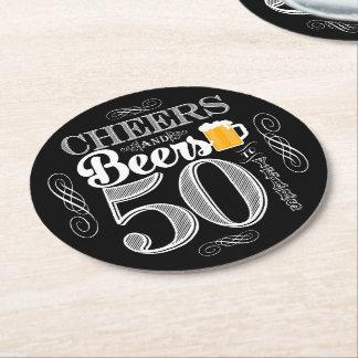 Porta-copo De Papel Redondo Elogios e cervejas a 50 anos de portas copos da