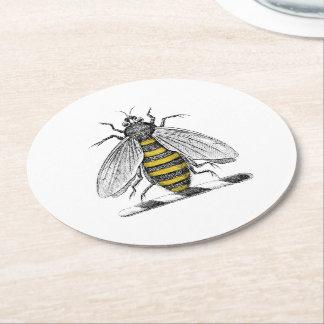 Porta-copo De Papel Redondo Emblema heráldico formal C da brasão da abelha do