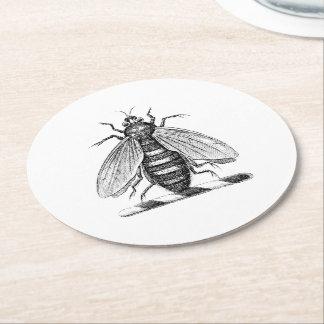 Porta-copo De Papel Redondo Emblema heráldico formal da brasão da abelha do
