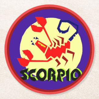 Porta-copo De Papel Redondo Escorpião Coastera redondo do sinal do horóscopo