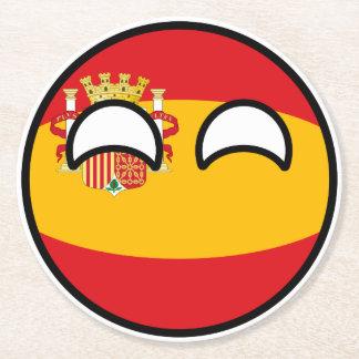 Porta-copo De Papel Redondo Espanha Geeky de tensão engraçada Countryball