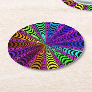 Porta-copo De Papel Redondo Espiral do ESPECTRO, ilusão visual, arco-íris/rosa
