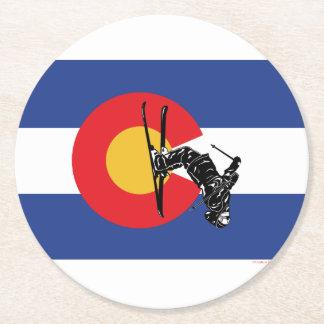 Porta-copo De Papel Redondo Esqui Colorado