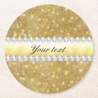 Porta-copo De Papel Redondo Estrelas Sparkling e diamantes do ouro chique