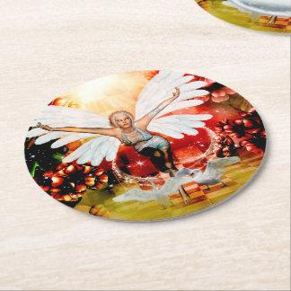 Porta-copo De Papel Redondo Fada maravilhosa com cisne