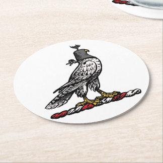 Porta-copo De Papel Redondo Falcão heráldico da caça que veste a capa C do