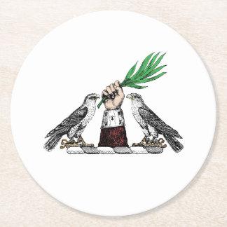 Porta-copo De Papel Redondo Falcons heráldicos do vintage com o emblema da