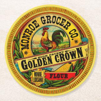Porta-copo De Papel Redondo Farinha alta da patente da coroa dourada