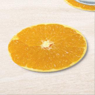 Porta-copo De Papel Redondo Fatia fresca da fruta alaranjada - porta copos de
