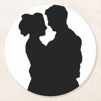 Porta-copo De Papel Redondo Favores do casamento - silhueta do casal
