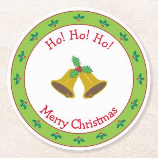 Porta-copo De Papel Redondo Feliz Natal Bels e azevinho