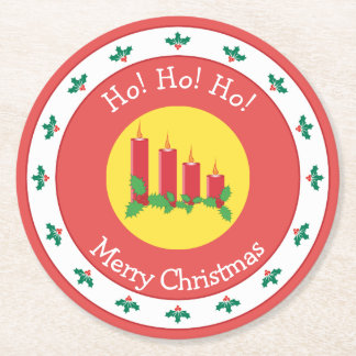 Porta-copo De Papel Redondo Feliz Natal com velas e azevinho