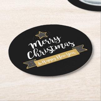Porta-copo De Papel Redondo Feriado do quadro do feliz ano novo do Feliz Natal