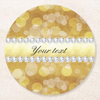 Porta-copo De Papel Redondo Folha e diamantes bonitos de Bokeh do ouro