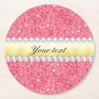 Porta-copo De Papel Redondo Folha e diamantes cor-de-rosa de ouro dos Sequins
