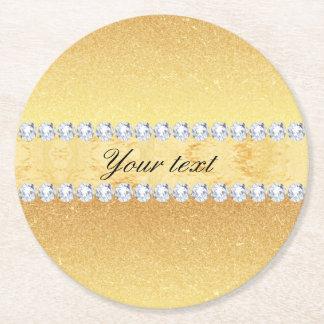 Porta-copo De Papel Redondo Folha e diamantes elegantes do brilho do ouro