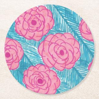 Porta-copo De Papel Redondo Folhas de palmeira e flores tropicais
