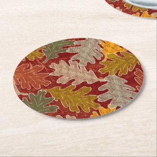 Porta-copo De Papel Redondo Folhas do carvalho do outono